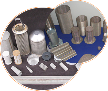 A picture shows our candle filters, cylindrical filters and related filter elements.