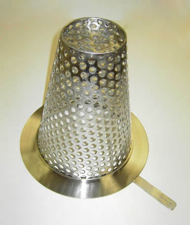 There is a metal flat bottom conical strainer.