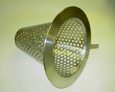 A perforated flat bottom conical strainer shows its inner structural design.