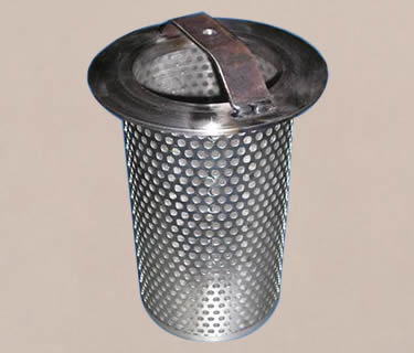A perforated and woven filter basket with a stainless steel handle.