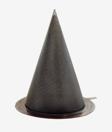 A fine woven conical strainer on a white background.